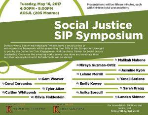 Social Justice SIP Symposium flyer