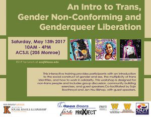 An Intro to Trans, Gender Non-Conforming and Genderqueer Liberation flyer