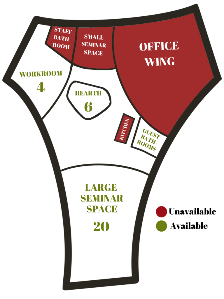 bird's eye view of center layout. Office wing, small seminar, north bathrooms, and kitchen are blocked in red. All other spaces are green