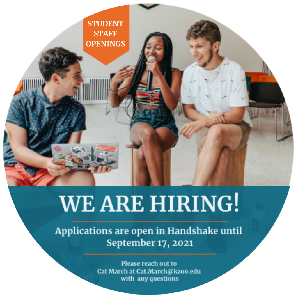 Circle graphic with text that reads: We are hiring! Application are open in Handshake until September 17